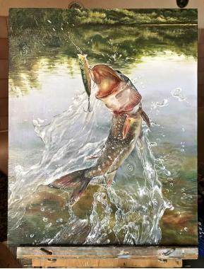 """картина маслом """"победительбольшая рыба"""""""