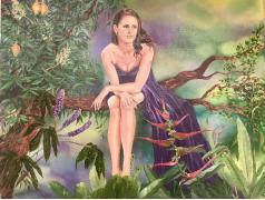 """картина маслом """"райская птичка"""""""