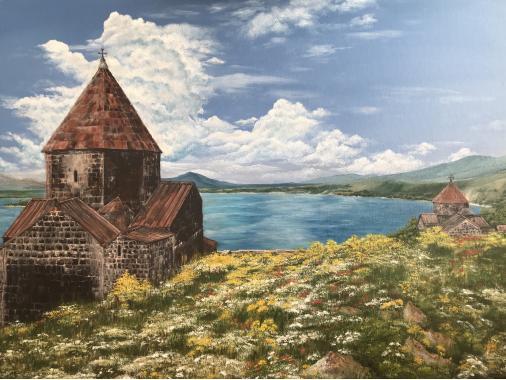 """картина маслом """"Армения Севанаванк"""""""