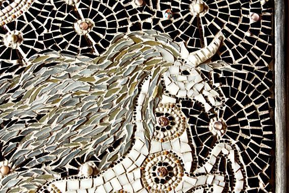 """стеклянная мозаика """"белый единорог"""""""