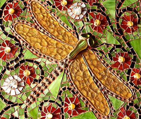 """стеклянная мозаика """"золотая стрекоза"""""""