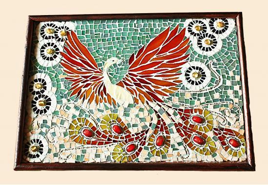 """стеклянная мозаика """"птица счастья"""""""