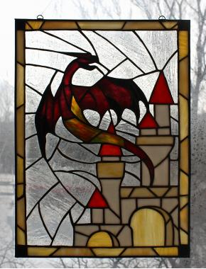 """Витраж на окно """"Красный дракон"""""""
