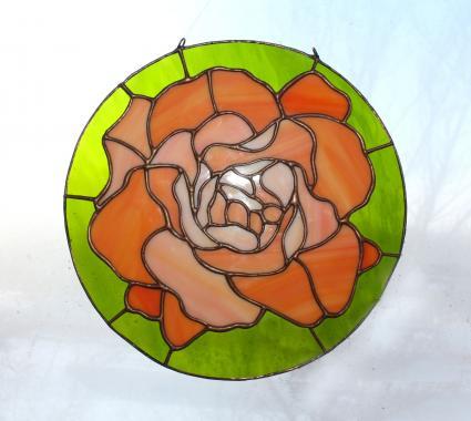 """витраж на окно """"чайная роза"""""""