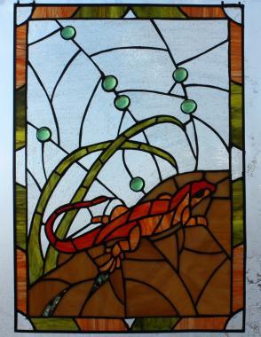 """Витраж на окно """"огненная саламандра"""""""