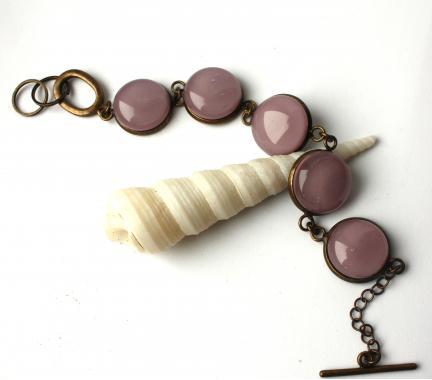 """браслет на руку """"Розовый рассвет"""" из художественного стекла"""