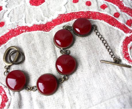 """браслет на руку """"Винно-красный"""" из художественного стекла"""