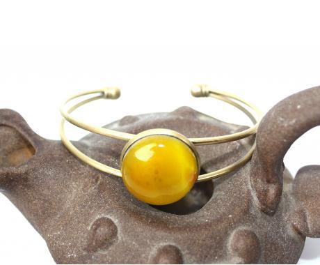 """браслет на руку """"Липовый мед"""" из художественного стекла"""