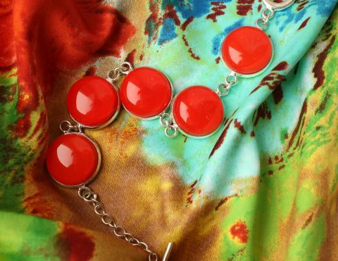 """браслет на руку """"Ярко-красный"""" из художественного стекла ярко-красный"""