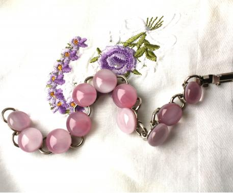 """браслет на руку """"Розовый лепесток"""" из художественного стекла"""