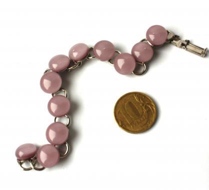 """браслет на руку """"Нежно-розовый"""" из художественного стекла"""
