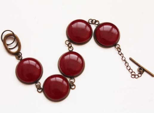 """браслет на руку """"Винная ягода"""" из художественного стекла"""