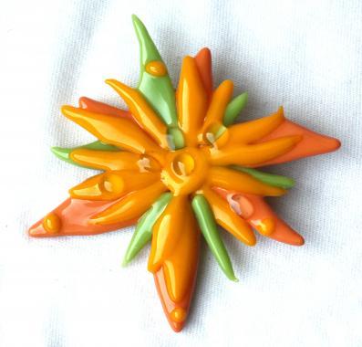 "брошь цветок ""оранжевое чудо"""