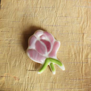 """брошь """"розовая роза"""" художественное стекло"""