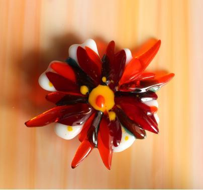 """брошь """"яркий цветок"""" художественное стекло"""