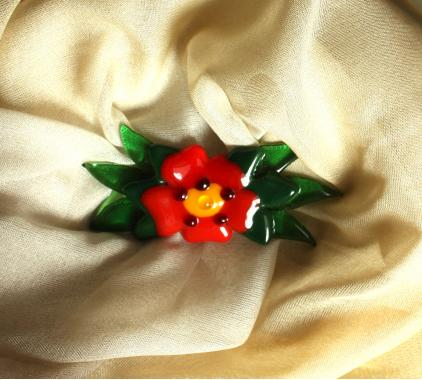 """брошь цветок """"аленький цветочек"""" художественное стекло"""