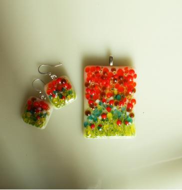 """набор украшений кулон и серьги """"Цветущий сад"""" авторская бижутерия"""