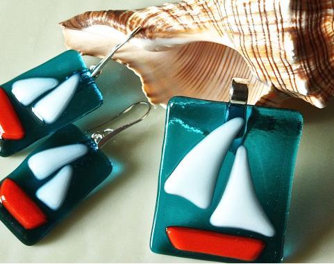 """набор украшений ручной работы кулон и серьги """"Белый парус"""" авторская бижутерия"""