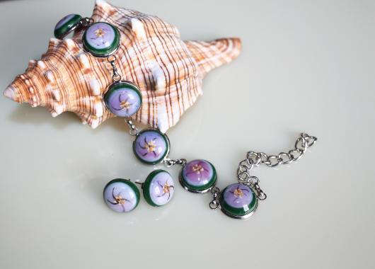 авторская бижутерия комплект украшений браслет и серьги-гвоздики купить в Москве