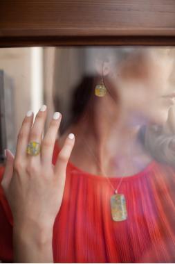 """набор украшений кулон кольцо и серьги """"На пляже"""""""