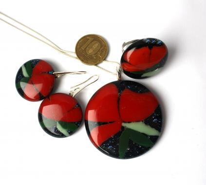 """набор украшений кулон кольцо серьги """"Красные цветы"""" авторская бижутерия"""