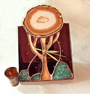 """настольные часы """"дерево жизни"""" с натуральным агатом"""