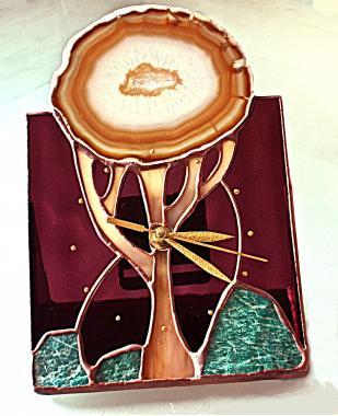 настольные часы дерево жизни с натуральным агатом