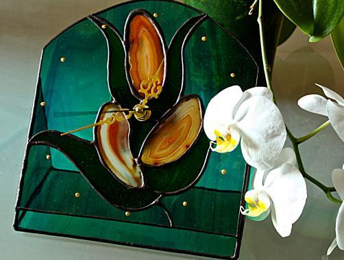 """настольные часы """"дикая орхидея"""" с натуральным агатом"""