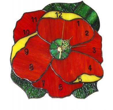 """настенные часы """"красный цветок"""""""