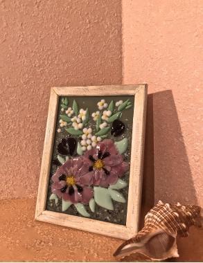 """Картина витраж """"букет с розовыми цветами"""""""