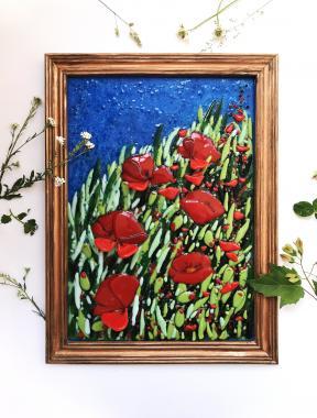 """Картина витраж из цветного стекла """"поле красных маков"""""""