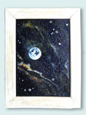 """Картина витраж """"полнолуние в другой галактике"""""""