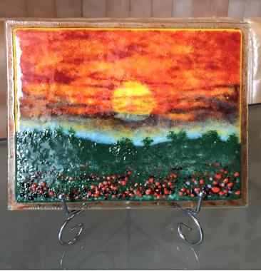 Авторская работа картина из стекла Итальянский закат в технике фьюзинг