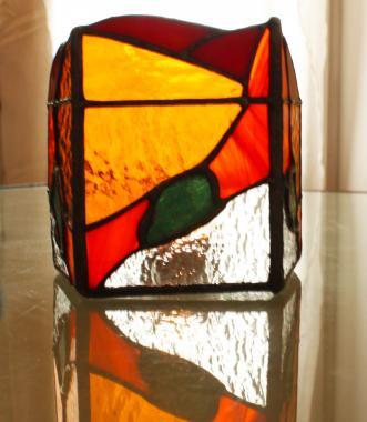 """подсвечник  из стекла с поделочными камнями """"сингапур"""" для создания романтической атмосферы"""