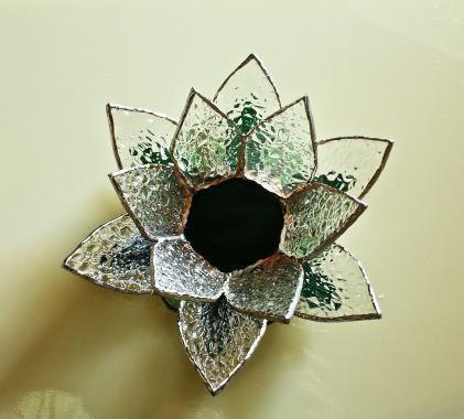 """подсвечник стеклянный """"цветок лотоса"""" витраж на вашем столе"""