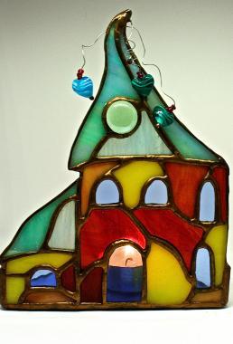 """подсвечник стеклянный """"сказочный домик"""""""