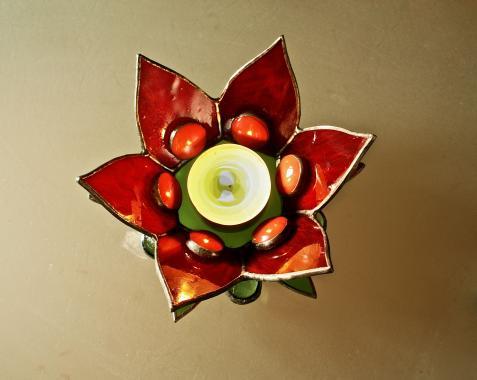 """подсвечник стеклянный """"красный цветок"""""""