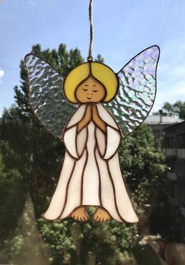 """витраж тиффани украшение на окно """"Белый ангел"""""""