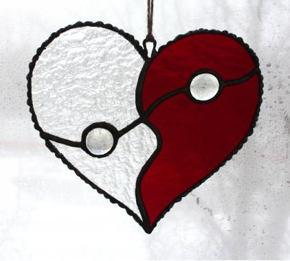 """красное сердце """"Инь и Янь"""""""