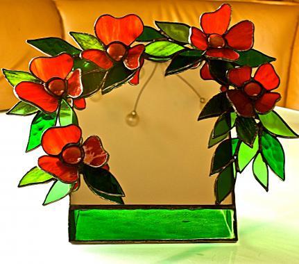 """зеркало настольное """"Красные цветы"""""""